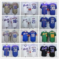 Wholesale darryl strawberry jersey green for sale - Group buy Men Darryl Strawberry Lucas Duda Mike Piazza Retro jersey new color blue green gray camo white Size M XXXL