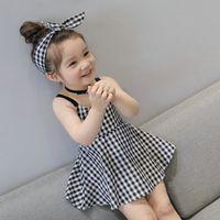 Wholesale baby girl korean dress cute for sale - Group buy Retail Baby Girls Plaid suspender Dress With Bow Headbands Summer Kids Korean Cute Sleeveless Backless High Waist Princess Dresses Clothing