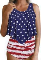 ingrosso bikini sexy bandiera americana-2019 Costumi da bagno bikini donna sexy bandiera americana, costumi da bagno bikini bandiera americana Super Hero, costumi da bagno bikini a strisce stelle eleganti e flessibili