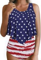 maillot de bain drapeau américain achat en gros de-2019 femmes sexy maillot de bain de bikini drapeau américain, maillot de bain de bikini drapeau américain super-héros, élégant stylé étoiles rayures bikini se baignant