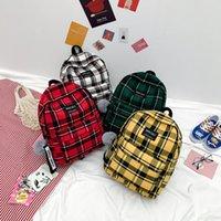 ingiliz okul çantaları toptan satış-2018 yeni İngiliz ekose tuval sırt çantası ortaokul öğrencileri Kore versiyonu kırmızı kampüs çantası küçük taze tek sırt çantası kadın