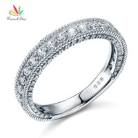 Wholesale wedding art deco jewelry resale online - Peacock Star Solid Sterling Silver Wedding Band Eternity Ring Jewelry Vintage Style Art Deco Cfr8099 Y19052201