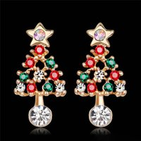 Wholesale kc gold color resale online - New Delicate Stars Christmas Tree Stud Earrings For Women Fashion KC Gold Color Full Colorful CZ Zircon Earring Xmas Gifts