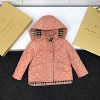 garngefärbte stoffe großhandel-Mädchen Baumwolle Kleidung Kinder Designer-Kleidung Herbst und Winter Nylongewebe Mantel Kammgarn gefärbt Stoff Seide Baumwolle Material Jacke