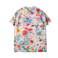 blumen brief großhandel-Mens T-shirt Luxus Blume Sommer 2019 Neue Designer Kleidung Brief Drucken Kurzarm Muster Top Bunte Tees
