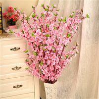 decoração de casamento pêssego venda por atacado-65 cm flores artificiais flor de pessegueiro flor simulação para decoração de casamento falso flores home decor