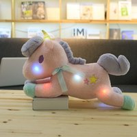 Wholesale funny stuff toys for sale - Group buy 55CM inch Led Shinning Horse Plush Toys Bow tie Unicorn Baby kids Soft Doll Birthday Gifts Stuffed Animals Shinning Glowing Glorious funny