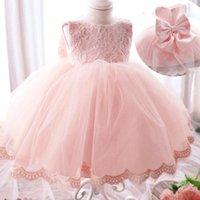 saf pamuklu kız elbiseleri toptan satış-Kızlar Elbise Kızlar Kelebek düğümlü Dantel Prenses Etek Uzun Kollu Elbise Kolsuz Pamuk Elbise Yuvarlak Yaka Saf Renk 4