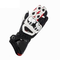 Wholesale leather motocross gloves resale online - New Moto gp Racing White Black Yellow Motorcycle Motocross Gp pro Leather Moto Long Gloves Racing Motorbike Gloves