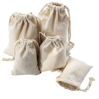 Wholesale small drawstring bags for sale - Group buy 9x12 x15 x16 x20cm cotton canvas drawstring bag small Muslim bracelet gift jewelry bag cute drawstring gift pouch Jewelry Pouches