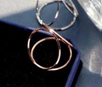 ingrosso tabelle di cerchio-Anelli portatovaglioli semplici a tre cerchi Anelli portatovaglioli a forma di cerchio con fibbia in oro rosa argento oro