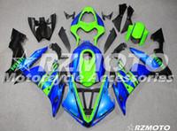 yzf r1 kaplama kiti yeşil toptan satış-OEM Kalite Yeni ABS Tam Fairing Kitleri YAMAHA YZF R1 04 05 06 için fit YZF1000 2004 2005 2006 R1 Kaporta seti Özel Mavi Yeşil