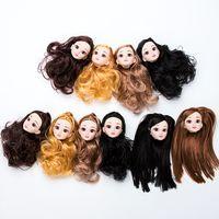 cuerpos de muñecas de plástico al por mayor-Ojos 3D Cabeza de muñeca de plástico Ojos reales 3D y cabeza de muñeca de pelo largo y rizado Sin muñecas de maquillaje Cuerpo Accesorios desnudos de bricolaje Juguetes para niños Regalos