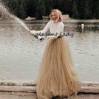 Wholesale plus size tutu wedding dresses resale online - Vintage Champagne Ivory Tutu Wedding Dresses High Neck Long Sleeve Crochet Cotton Lace Hippie Country Bohemian Wedding Gown
