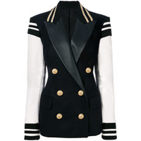 HIGH QUALITY Newest Fashion Blazer Women's Leather Patchwork Double Breasted Blazer Classic Varsity Jacket