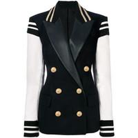 HIGH QUALITY Newest Fashion Blazer Women's Leather Patchwork Double Breasted Blazer Classic Varsity Jacket