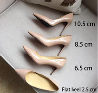 size33-42Fashion luxury designer Nude black red women shoes red bottom high heels 8cm 10cm 12cm Leather Pointed Toes Pumps Dress shoes