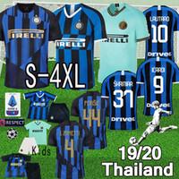 camiseta de fútbol 4xl al por mayor-Thai 19 20 Inter Soccer Jersey LUKAKU PERISIC DE VRIJ milan Camiseta de futbol 2019 2020 POLITANO CANDREVA S-4XL Maillots de football