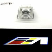 emblèmes led achat en gros de-Maxup 2pcs porte de voiture dédiée lumière de bienvenue Pour Cadillac SRX ATS XTS logo lumières led porte bienvenue signes emblème lumières