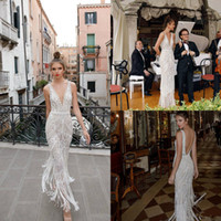 Wholesale tassel bead wedding dress for sale - Group buy Julie Vino Luxury Wedding Dresses Crystal Tassel Beaded Sexy Deep V Neck Illusion Lace Floor Length Bridal Gowns Robe De Mariée Custom Made