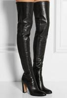 zapatos lisos negros de cuero mujer al por mayor-Botas altas hasta el muslo negro de cuero liso Talón cuadrado Punta redonda Cremallera sobre las rodillas Botas altas Zapato de otoño Motocicleta Moda Mujeres