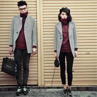 ingrosso mens marrone di trincea di lana marrone-2018 Uomo misto lana Suit Suit Outwear Coat Uomo Casual Trench Coat Design Slim