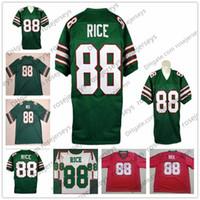 camiseta de fútbol verde blanco mujeres al por mayor-Mississippi Valley State Delta Devils # 88 Jerry Rice Vintage Jersey 1984 NCAA Retro Verde Blanco Rojo 80 Fútbol Universitario Hombres Jóvenes Niños Mujeres