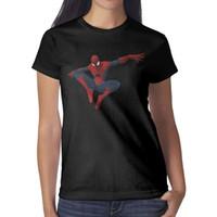 diseño de imágenes tops al por mayor-Descarga gratuita de imágenes de SpiderMan PNG. Mujeres diseño camiseta negra casual moda Tops de mujer camisas de manga corta
