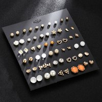 Wholesale colorful studs for ears for sale - Group buy Fashion Colorful Stud Earings Sets For Women Girls Cute Mini Heart Star Crystal Flower Shape Ears Stud Earrings Jewelry Accessories M259Y