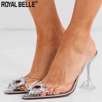 zapatos de boda de cristal bling al por mayor-Royal Belle PVC transparente zapatos de cristal 2019 Verano Nuevo dedo del pie puntiagudo extraño talón Slingbacks Ladies Bling Bling zapatos de boda