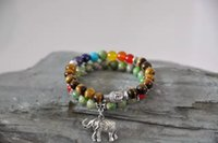 ingrosso protezione del braccialetto-set di 2 bracciale Buddha, occhio di tigre, elefante, meditazione, chakra, perle di mala, bracciale tibetano, protezione