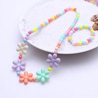 розовые ожерелья из бисера оптовых-Candy Color Necklace Flower Beaded Necklace Children Cosplay Accessory Pink Girl Princess Party Multicolor Jewelry Hot selling