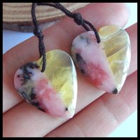 Wholesale hot pink opal for sale - Group buy Pink opal with Yellow opal Intarsia heart Earring Beads Hot Selling Charms Women Jewelry Gift Gem Customized x21x4mm g