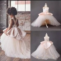 Wholesale hi lo tutu resale online - Adorable Pink High Low Tulle Flower Girl Dresses Criss Cross Backless Flora Appliqued Tutu Skirt For Kids Pageant Communion Dress