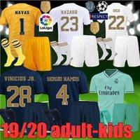 le football des hommes t shirts achat en gros de-adultes enfants 19 20 maillots de football du Real Madrid 2019 2020 MODRIC HAZARD kit de fête pour BENZEMA ISCO hommes enfants Ensembles T-shirts de Football