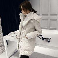 baumwoll-frauen lange jacken großhandel-Wintermantel Frauen Winterjacken Padded Baumwolle mit Kapuze Mittel-langer Mantel plus Größe Parkas für Frauen-Jacken-Wolle-Kleidung