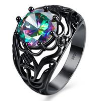 finger stein ring design großhandel-Neue Hohl Design Ringe Für Party Unisex Ring Schwarz Gold Gefüllt Bunten Zirkon Stein Modeschmuck Fingerring