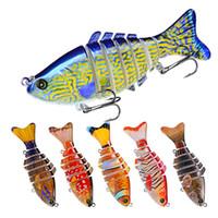 çok bölümlü lures toptan satış-Yeni Boyalı Yol Lure Bait ABS Plastik Sert 10 cm / 15.61g Balıkçılık Lure Mücadele Luya Yem Çok Bölümlü Balık Biyonik Yem HS033 # 6 Kancalar