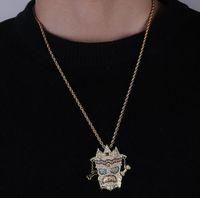 ingrosso collane di diamanti in stile indiano-Placcato oro 14K Hip Hop Ins stile indiano UKA Maschera pendente collana Mens Micro Pavimenta Cubic Zirconia Diamanti colorati con catena a 24 pollici Corda