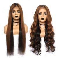 Wholesale straight hair color 33 for sale - Group buy Body Wave Lace Front Human Hair Wigs Pre plucked Ombre Full Lace Wigs Silk Straight Remy Hair Lace Wigs b Highlight