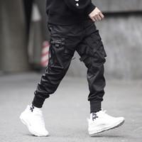 pantalon de danse masculin achat en gros de-Hommes multi-poches taille élastique Design Harem Pant Hommes Streetwear Punk Hip Hop Pantalons Casual Joggers Mâle Pantalon de Danse