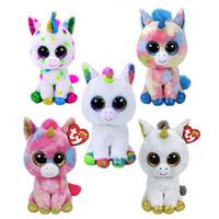 bej oyuncak ayı toptan satış-TY BEANIE BOOS koleksiyonu 17 CM Unicorn Peluş oyuncaklar 6 inç Yumuşak dolması Hayvan Doll Kawaii büyük gözler Yenilik oyuncaklar Çoc ...