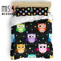 Wholesale owl bedding full resale online - MISSHOUSE Cartoon Animal Colorful Owls Duvet Cover Set Bed Sheets Comforter Cover Pillowcases Bedding Sets