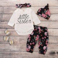 ropa de niña recién nacida al por mayor-4 unids Trajes de Bebé Niña Clothesroupas De Bebe Recién Nacido Ropa Infantil Romper + trajes de pantalón Envío Gratis Y19050801