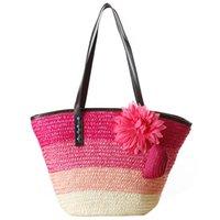 ingrosso tote di paglia colore-Borsa in paglia lavorata a maglia Borse estive da donna di moda bohemien strisce colorate borse a tracolla borsa da spiaggia grandi tote bag