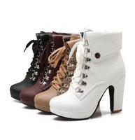 kahverengi dantelli çizmeler topukluyor toptan satış-Artı boyutu 33 için 42 43 Şık Yakalar Lace Up Platformu Chunky Topuk Ayak bileği Boots Beyaz Kahverengi Siyah Bej