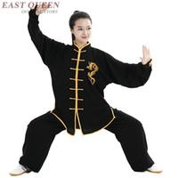 ropa wushu al por mayor-Tai chi uniforme ropa taichi ropa mujeres hombres wushu ropa kung fu uniforme traje de artes marciales ejercicio FF802