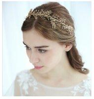 yaprak başlığı toptan satış-Gelin Şapkalar Taç Boncuk Saç Süsler Yaprak Taç Bantlar Düğün Başlığı Aksesuarları Altın Renk Alın Takı Ağacı