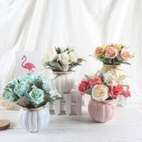 ingrosso bonsai di seta-Piante artificiali Fiori decorativi Zucca Falso Rosa Bonsai Artificiale Rosa Fiore di seta Home Decor 1 Set (piante + vaso)