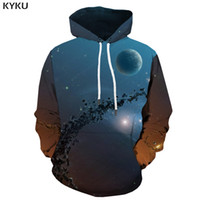 туманная толстовка оптовых-KYKU  Galaxy Space Hoodie Men Earth Hooded Casual Nebula 3d Printed Meteorite Sweatshirt Printed Harajuku Hoody Anime